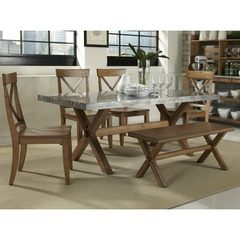 Buy Liberty Furniture Keaton 6 Piece 76x38 Dining Room Set w/ Bench in Medium Wood and Metal on sale online