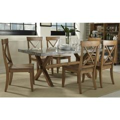 Buy Liberty Furniture Keaton 7 Piece 76x38 Dining Room Set in Medium Wood and Metal on sale online