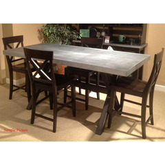 Buy Liberty Furniture Keaton II 5 Piece Gathering 76x38 Table Set in Charcoal w/Zinc Metal Top on sale online