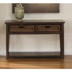 Buy Liberty Furniture Lakewood 48x18 Rectangular Basket Sofa Table in Cherry, Dark Wood on sale online