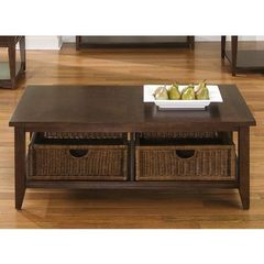 Buy Liberty Furniture Lakewood 48x26 Rectangular Basket Cocktail Table in Cherry, Dark Wood on sale online