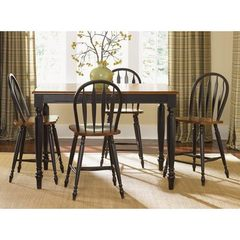 Buy Liberty Furniture Low Country Black 5 Piece 54x54 Square Counter Height Set w/ Windsor Back Stools on sale online