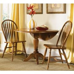Buy Liberty Furniture Low Country Bronze 3 Piece 42x42 Round Drop Leaf Dining Room Set w/ Windsor Back Side Chairs in Bronze, Medium Wood on sale online