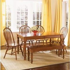 Buy Liberty Furniture Low Country Bronze 6 Piece 58x38 Dining Room Set w/ Windsor Back Side Chairs and Bench in Bronze, Medium Wood on sale online