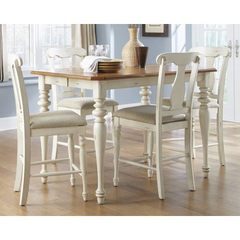 Buy Liberty Furniture Ocean Isle 5 Piece 54x54 Square Counter Height Set in Bisque White, Pine on sale online