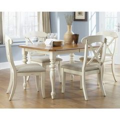 Buy Liberty Furniture Ocean Isle 5 Piece 72x38 Dining Room Set w/ X Back Side Chairs in Bisque White on sale online