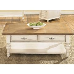 Buy Liberty Furniture Ocean Isle 50x26 Rectangular Cocktail Table in Bisque and Pine on sale online