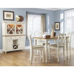Buy Liberty Furniture Ocean Isle 6 Piece 54x54 Square Counter Height Set w/ Buffet in Bisque White, Pine  on sale online