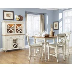 Buy Liberty Furniture Ocean Isle 6 Piece 54x54 Square Counter Height Set w/ X Back Chairs and Buffet in Bisque White, Pine on sale online