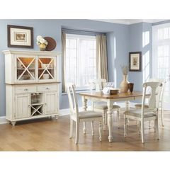 Buy Liberty Furniture Ocean Isle 6 Piece 72x38 Dining Room Set w/ Buffet in White, Light Wood on sale online