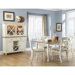 Buy Liberty Furniture Ocean Isle 6 Piece 72x38 Dining Room Set w/ X Back Side Chairs and Buffet in White, Light Wood on sale online