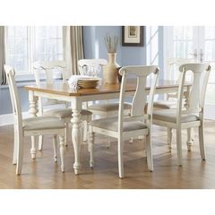 Buy Liberty Furniture Ocean Isle 7 Piece 72x38 Dining Room Set in Bisque White, Pine on sale online