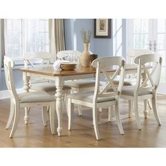 Buy Liberty Furniture Ocean Isle 7 Piece 72x38 Dining Room Set w/ X Back Side Chairs in White, Light Wood on sale online