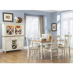 Buy Liberty Furniture Ocean Isle 8 Piece 72x38 Dining Room Set w/ Buffet in Bisque White, Pine on sale online