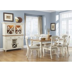 Buy Liberty Furniture Ocean Isle 8 Piece 72x38 Dining Room Set w/ X Back Side Chairs and Buffet in Bisque White, Pine on sale online