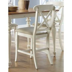 Buy Liberty Furniture Ocean Isle Traditional 24 Inch Counter Height Chair w/ X Back in Bisque White, Beige on sale online