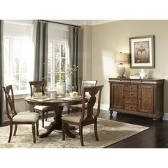 Buy Liberty Furniture Rustic Tradition 6 Piece 72x54 Dining Room Set w/ Sideboard in Cherry, Medium Wood on sale online