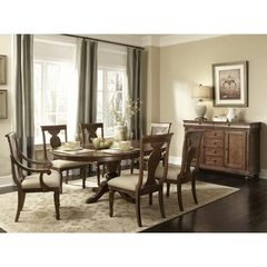 Buy Liberty Furniture Rustic Tradition 8 Piece 72x54 Dining Room Set w/ Sideboard in Cherry, Medium Wood on sale online