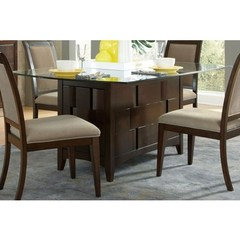 Buy Liberty Furniture Saxton 72x44 Rectangular Pedestal Table w/ Glass Top on sale online