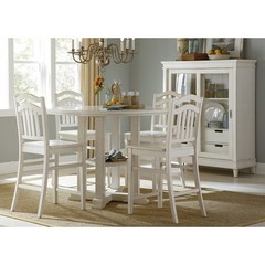 Buy Liberty Furniture Summerhill 5 Piece 48x48 Round Gathering Counter Height Set in White on sale online