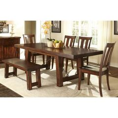 Buy Liberty Furniture Tahoe 6 Piece 90x40 Rectangular Dining Room Set w/ Bench in Mahogany on sale online