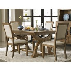 Buy Liberty Furniture Town & Country 5 Piece 96x42 Dining Room Set in Sand, Light Wood on sale online