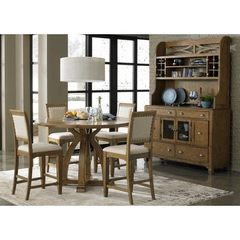 Buy Liberty Furniture Town & Country 6 Piece 54x54 Round Gathering Counter Height Set w/ Buffet in Sand, Light Wood on sale online