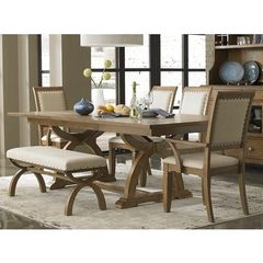 Buy Liberty Furniture Town & Country 6 Piece 96x42 Dining Room Set w/ Bench in Sand, Light Wood on sale online