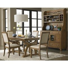 Buy Liberty Furniture Town & Country 6 Piece 96x42 Dining Room Set w/ Buffet in Sand, Light Wood on sale online