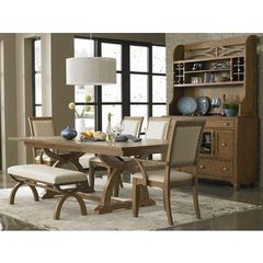 Buy Liberty Furniture Town & Country 7 Piece 96x42 Dining Room Set w/ Bench and Buffet in Sand, Light Wood on sale online