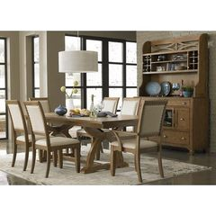Buy Liberty Furniture Town & Country 8 Piece 96x42 Dining Room Set w/ Buffet in Sand, Light Wood on sale online