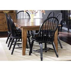 Buy Liberty Furniture Treasures 7 Piece 108x44 Rectangular Room Set in Oak and Black on sale online