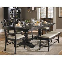 Buy Liberty Furniture Whitney 6 Piece 94x42 Dining Room Set w/ Bench in Black Cherry, Dark Wood on sale online