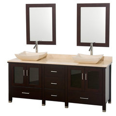Buy Wyndham Collection Lucy 72 Inch Ivory Marble Top Double Sink Vanity Set on sale online