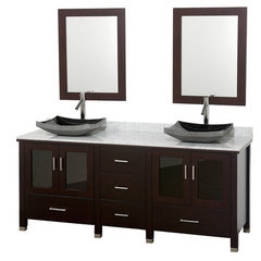 Buy Wyndham Collection Lucy 72 Inch White Carrera Marble Top Double Sink Vanity Set on sale online