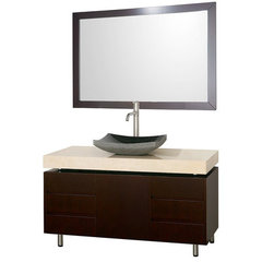 Buy Wyndham Collection Malibu 48 Inch Ivory Marble Top Vanity Set w/ Black Granite Sink on sale online
