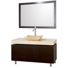 Buy Wyndham Collection Malibu 48 Inch Ivory Marble Top Vanity Set w/ Ivory Marble Sink on sale online