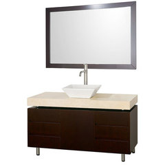 Buy Wyndham Collection Malibu 48 Inch Ivory Marble Top Vanity Set w/ Porcelain Sink on sale online