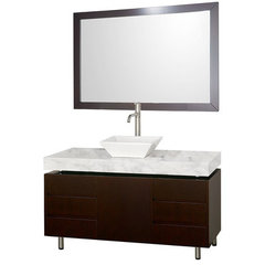 Buy Wyndham Collection Malibu 48 Inch White Carrera Marble Top Vanity Set w/ Porcelain Sink on sale online