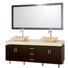Buy Wyndham Collection Malibu 72 Inch Ivory Marble Top Vanity Set w/ Ivory Marble Sink on sale online