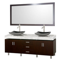 Buy Wyndham Collection Malibu 72 Inch White Carrera Marble Top Vanity Set w/ Black Granite Sink on sale online