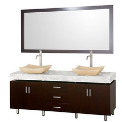 Buy Wyndham Collection Malibu 72 Inch White Carrera Marble Top Vanity Set w/ Ivory Marble Sink on sale online