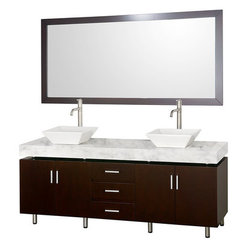 Buy Wyndham Collection Malibu 72 Inch White Carrera Marble Top Vanity Set w/ Porcelain Sink on sale online