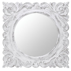 Buy Cooper Classics Margate 32 Inch Square Mirror in Aged White on sale online