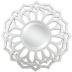 Buy Cooper Classics Martin 32 Inch Round Mirror in Glossy White on sale online