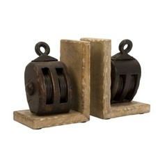 Buy IMAX Worldwide Mason Wood Pulley Bookends on sale online