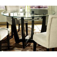 Buy Steve Silver Matinee Glass Top 48 Inch Round Dining Table on sale online
