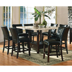 Buy Steve Silver Monarch 9 Piece Marble Top 54x54 Counter Height Set w/ Storage Base on sale online
