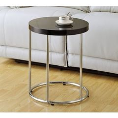 Buy Monarch Specialties 18x18 Round Accent Table in Chrome, Black on sale online