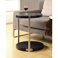 Buy Monarch Specialties 18x18 Round Accent Table in Chrome, Cappuccino on sale online